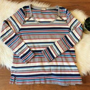 Anthropologie Postage Stamp Colorful Striped Top